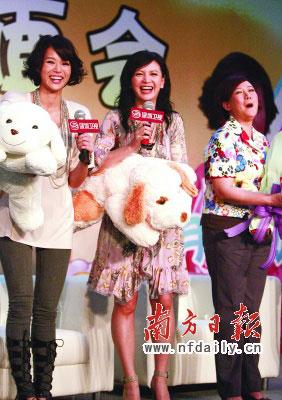 胡杏儿(左)与曾华倩昨日来广州宣传新剧。刘力勤李创摄