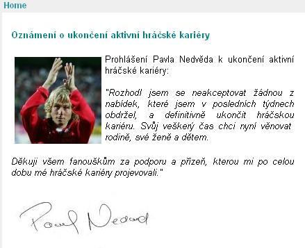 内德维德在个人官网上正式宣布退役