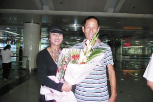 韩端和她的父亲合影