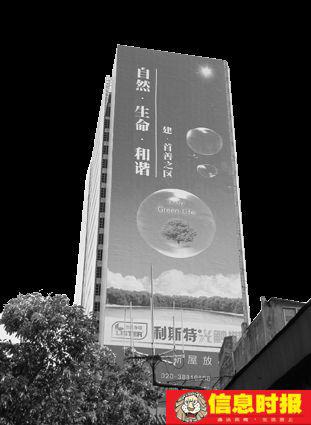 社会3  24层的烂尾楼其中一面外墙是纸质宣传海报。信息时报记者 郑启文 实习生 杨耀烨 摄
