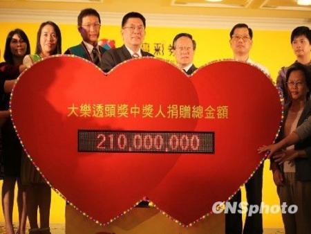 9月14日,台湾大乐透有史以来最高单注头奖得主委托台湾彩券公司董事长尚瑞强,将2.1亿元新台币的巨款捐赠给台湾14家机构与社会福利团体,预计将有1.5万弱势群体因此受惠。该笔捐款除了是台湾公益彩券史上最高捐赠金额之外,也创下了受赠单位最多的历史纪录。 中新社发 李佳佳摄
