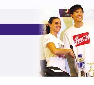 刘翔、伊娃联手拉动黄金大奖赛人气指数。