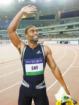 盖伊跑出了男子百米世界第三好的成绩。