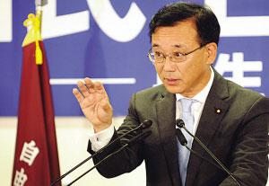28日,新当选自民党总裁谷垣祯一举行就任后的首个记者会。