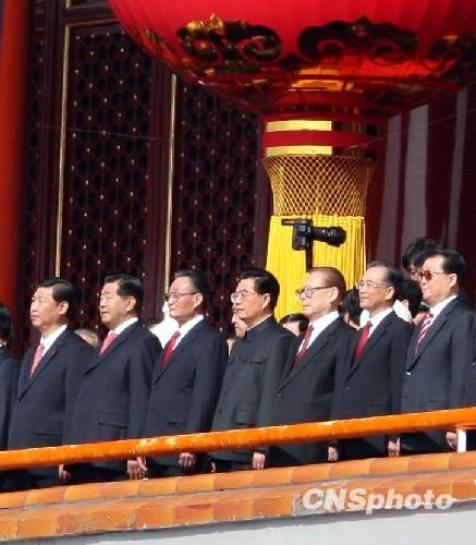 胡锦涛等党和国家领导人出席国庆庆祝大会图片