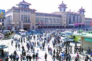 今天,北京站迎来返程高峰。 程宁摄