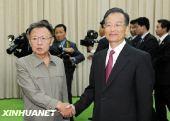 温家宝同朝鲜劳动党总书记金正日会谈(图)
