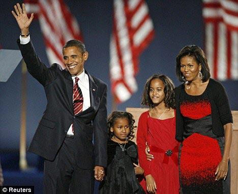 奥巴马一家庆祝大选获胜