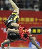 图文:郭亮亮夺得武术散打男子50公斤级冠军