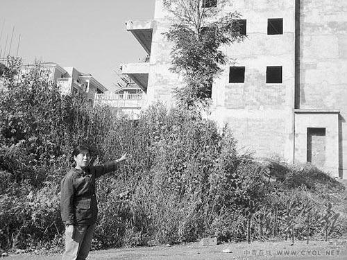 张剑的母亲白艳娇说,她家的房子被拆迁后,开发商盖起了别墅。本报记者 宋广辉摄