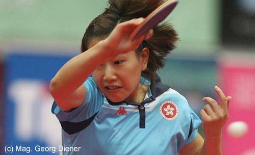 图文:国乒女团3-1逆转中国香港 回球秀发舞动