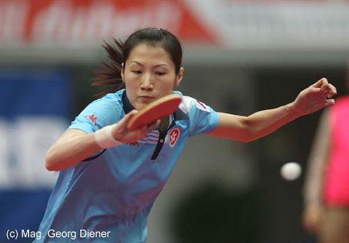 图文:国乒女团3-1逆转中国香港 表情非常专注
