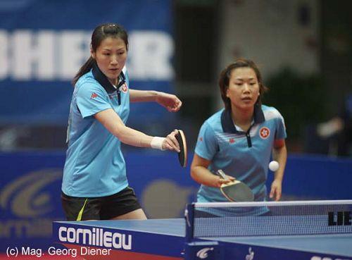 图文:国乒女团3-1逆转中国香港 香港双打配合