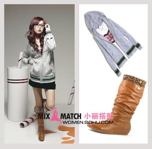 长靴搭配冬季短裤搭配卡其色长靴搭配长靴短裙