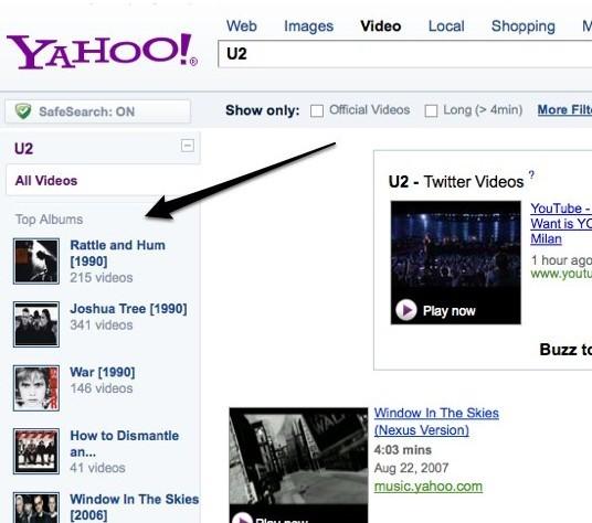Yahoo Video搜索结果网页