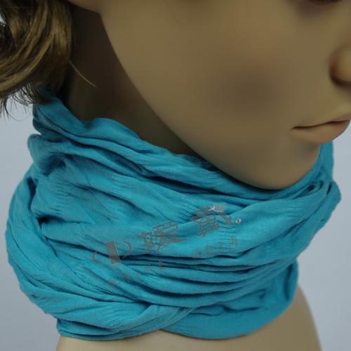 WJC-0905-嫒戴有机棉抽橡筋围巾(流行款)蓝