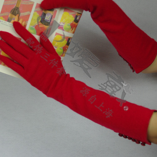 STJ-0915-红  嫒戴女式日本风格长手套