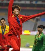 图文:亚锦赛男子跳远 李金哲庆祝夺冠