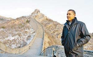 """登上长城当""""好汉"""" """"我若滑倒是国际事件"""" 奥巴马抵达八达岭长城参观"""