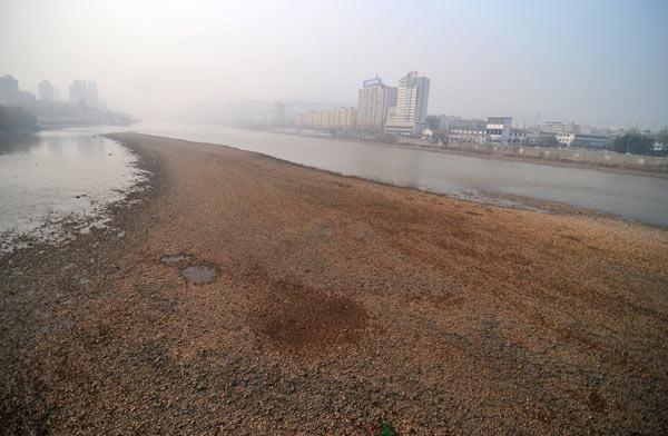 兰州/黄河兰州段裸露的河床