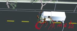 6名凶徒截停执法车,诱骗城管摇下车窗。杨泳海制图