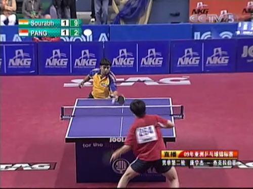 图文:乒乓球亚锦赛男单第二轮 队员摆短