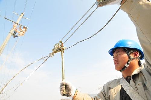 安徽/庐江(安徽),2009年11月21日 安徽供电部门跨区支援抢修受损...