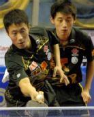 图文:乒球亚锦赛单项赛 王励勤张继科在比赛中