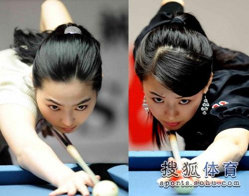 图文:1/4决赛潘晓婷VS车侑蓝 两位大美女对阵