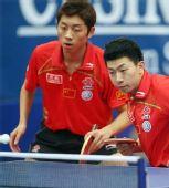 图文:亚洲乒乓球锦标赛 许昕马龙在男双比赛中