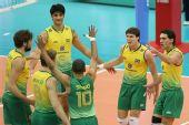 图文:巴西男排五连胜成功卫冕 巴西男排欢庆