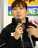 图文:日本羽球美女潮田玲子 潮田玲子面对记者