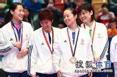 图文:乒乓球女团颁奖现场 香港队夺冠不容易