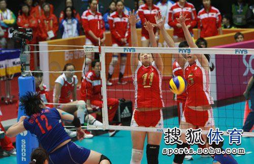 中国女排双人拦网