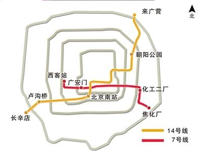 北京地铁7号线与14号线路线图