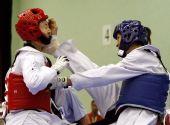图文:跆拳道赛场现意外 踢中对手的面门