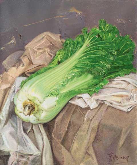 忻东旺布面油画作品《白菜》