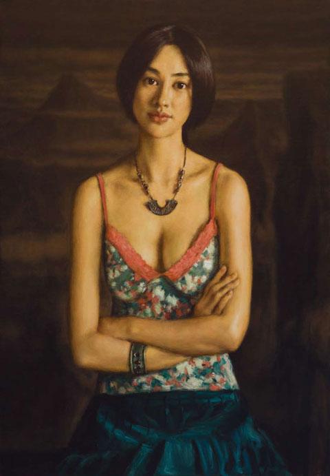 杨飞云布面油画作品《云山之间》