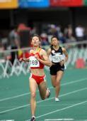 图文:田径女子200米蒋兰夺冠 冲刺过线瞬间