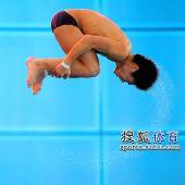 图文:男子10米台张雁全夺冠 火亮空中翻转