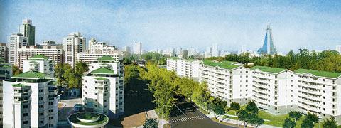 朝鲜月刊画报《朝鲜》登载的万寿台街全景。万寿台街位于平壤中心地带的中区。(韩联社)