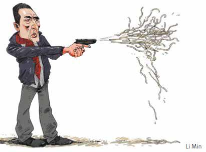 洪晃英文专栏评老谋子新作《三枪》