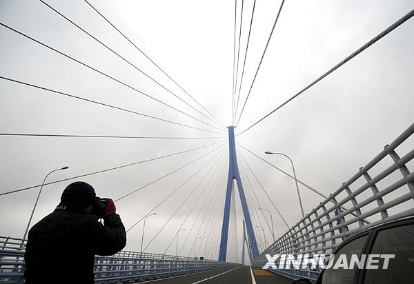 11月17日,一名记者在拍摄刚刚建成的金塘跨海大桥。新华社记者 徐昱 摄