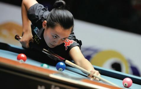 刘莎莎在九球世锦赛比赛中