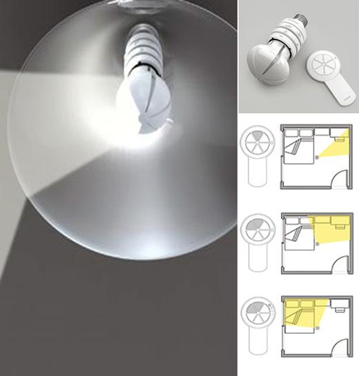 变向定向照明的节能灯   几乎人人都知道,与白炽灯相比,节能灯更环保、节能。但什么灯能比节能灯更加节能呢?设计师SeokjaeRhee提出了一种极富创意的解决方案让一个灯泡发挥六个灯泡的作用,能同时或者分别向6个方向提供照明。与传统灯泡浑圆的外形不同,这盏灯泡从外形上看更像是一个被切成六瓣的西瓜,而起到定向照明作用的正是这一瓣瓣瓜片。配合使用的小型遥控器的操作面也分为六个扇形,按压不同的扇形就可点亮灯泡上相应的区域。(yankodesign.
