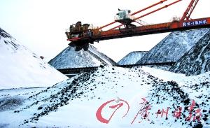 秦皇岛港附近的煤场被白雪覆盖。CFP图
