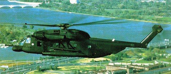"""称为""""黑骑士""""的YHH-53H是作为低空铺路II型和III型的测试平台使用的。"""
