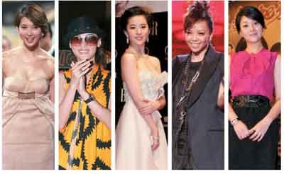 左起:林志玲、张柏芝、刘亦菲、张惠妹、殷桃