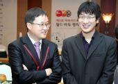 图文:BC卡杯抽签仪式 刘昌赫与朴永训谈笑风生