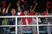 图文:[亚预赛]国足VS越南 球迷振臂